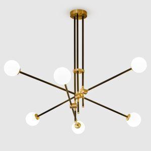 Suspension en métal D100cm laquage 2 modèles ligne géométrique noir pour chambre salle simple