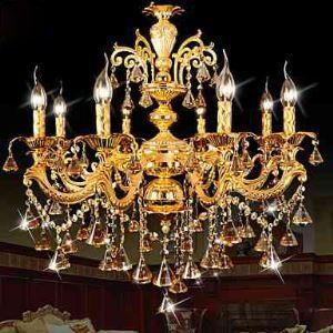 Lustre Couleur d'Or Cristal LED avec 8 lumières pour salon salle à manger Chambre