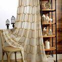 Voilage brodé en polyester lin nid d'abeille pour chambre salon abstrait américain