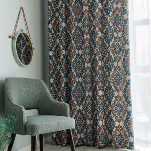 Rideau occultant imprimé en chenille polyester coton carreau bicolore pour chambre à coucher rétro américain