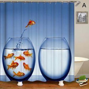 Rideau de douche impression 3D 4 modèles poisson rouge pour salle de bain imperméable anti-moisissure