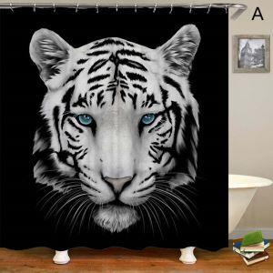 Rideau de douche impression 3D 4 modèles tigre pour salle de bain imperméable anti-moisissure