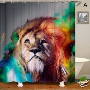 Rideau de douche impression 3D 4 modèles lion pour salle de bain imperméable anti-moisissure