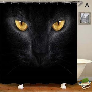 Rideau de douche impression 3D 4 modèles chat noir pour salle de bain imperméable anti-moisissure