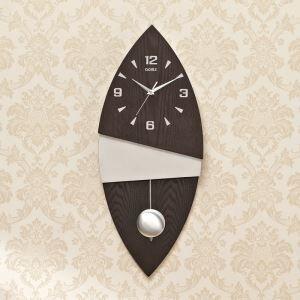 Horloge murale silencieuse en bois feuille simple moderne
