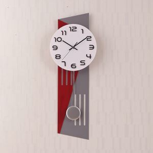 Horloge murale silencieuse en acrylique rouge gris simple moderne