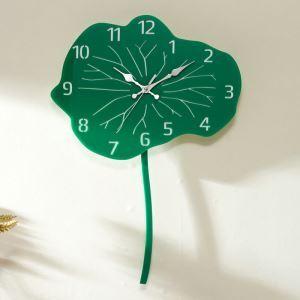 Horloge murale silencieuse en acrylique feuille de lotus vert simple moderne