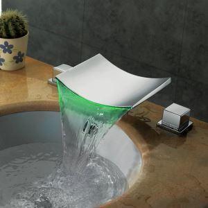 Robinet de lavabo cascade LED laiton chromé