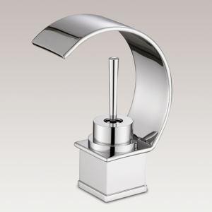 Mitigeur de lavabo cascade laiton H12.5cm courbe chromé pour salle de bain