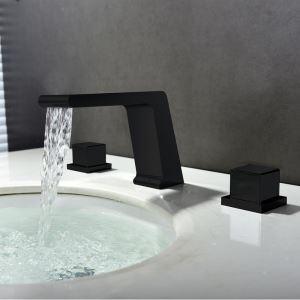 Mitigeur de lavabo cascade laiton H12cm 3 trous noir laquage pour salle de bain