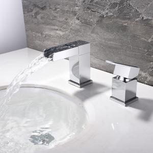 Mitigeur de lavabo cascade laiton H9.2cm chromé pour salle de bain