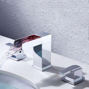 Mitigeur de lavabo LED cascade laiton H11.4cm 2 poignées chromé pour salle de bain