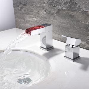 Mitigeur de lavabo LED cascade laiton H11.4cm chromé pour salle de bain