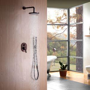 Colonne de douche avec douchette à main encasrtée en cuivre D20cm ORB pour salle de bains