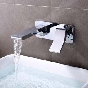 Mitigeur de lavabo cascade mural laiton chromé pour salle de bain