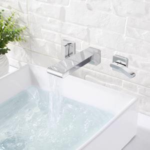 Mitigeur de lavabo cascade mural laiton 2 poignées chromé pour salle de bain