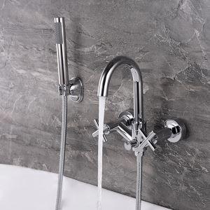 Mitigeur de baignoire avec douchette mural cuivre H18cm chromé pour salle de bains