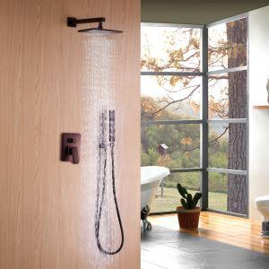 Colonne de douche avec douchette à main encasrtée cuivre D19.8cm ORB pour salle de bains