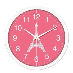 Horloge murale silencieuse en plastique 4 modèles D25cm rond la Tour Eiffel simple