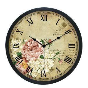 Horloge murale silencieuse en plastique 6 modèles D25cm rond pivoine rétro