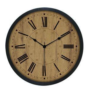 Horloge murale silencieuse en plastique 6 modèles D25cm rond couleur de bois rétro