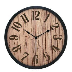 Horloge murale silencieuse en plastique 4 modèles D25cm rond motif de bois rétro