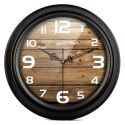 Horloge murale silencieuse en métal 3 modèles noir rond bois rétro
