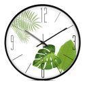 Horloge murale silencieuse en métal 3 modèles 2 couleurs feuille verte simple