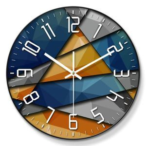 Horloge murale silencieuse en métal/PVC 4 modèles 2 couleurs dessin abstrait simple