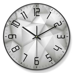 Horloge murale silencieuse en métal/PVC 4 modèles 2 couleurs triangle en trois dimensions simple