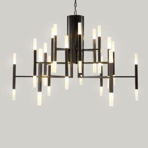 Lustre LED en métal verre D70cm placage 2 modèles 3 couleurs forme géométrique pour chambre salle simple