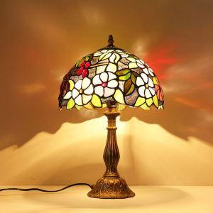 Tiffany lampe de chevet D 30 cm floral bronzé luminaire chambre cuisine salle