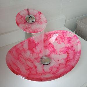 Vasque à poser oval verre trempé rouge avec robinet pour salle de bains toilettes