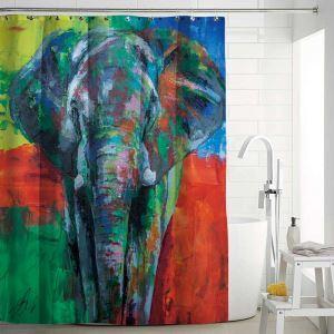 Rideau de douche impression peinture à l'huile d'éléphant pour salle de bain imperméable anti-moisissure