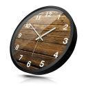 Horloge murale silencieuse en métal 3 modèles planche de bois simple