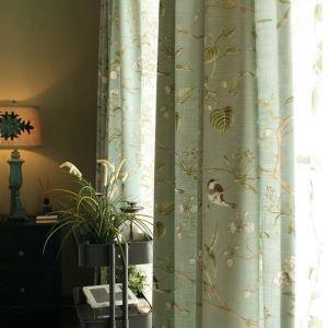 Rideau tamisant imprimé en coton lin rameaux oiseau pour chambre à coucher salon
