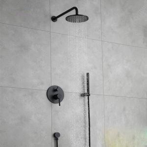 Colonne de douche encastrée avec douchette D 20 cm peinture noir pour salle de bains