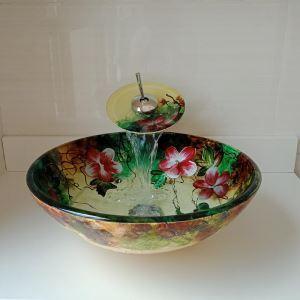 Vasque à poser avec robinet cascade en verre D 42 cm pour salle de bains