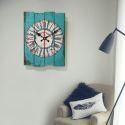 Horloge murale silencieuse en bois 6 modèles rectangulaire bleu rétro
