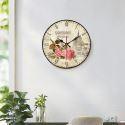 Horloge murale silencieuse en bois 5 modèles rond rose romantique pastoral
