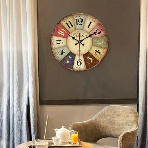 Horloge murale silencieuse en bois 5 modèles rond géométrique pastoral