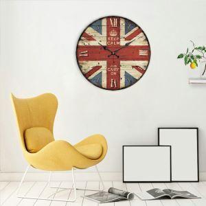 Horloge murale silencieuse en bois 7 modèles rond drapeau britannique pastoral