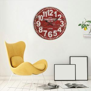 Horloge murale silencieuse en bois 6 modèles rond rouge pastoral