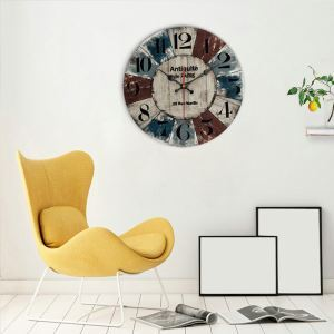 Horloge murale silencieuse en bois 6 modèles rond coloré pastoral