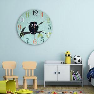 Horloge murale silencieuse en bois 6 modèles rond chouette mignon