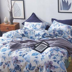 Housse de couette 200*230cm 1 drap 2 taies d'oreiller en coton fleur bleue écologique