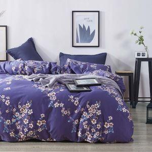 Housse de couette 200*230cm 1 drap 2 taies d'oreiller en coton fleur magnifique  écologique