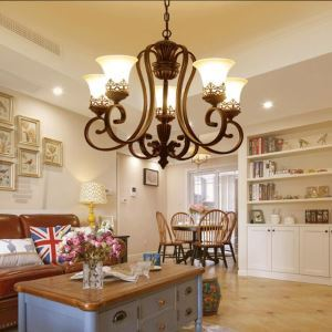 Style rétro américain Lustre en  Métal 5 lumières luminaire pour Salle/Chambre à coucher/Salle à manger/Chambre d'enfant/Couloir
