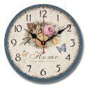 Horloge murale silencieuse en bois 3 modèles rond D30cm fleur pastoral