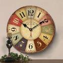 Horloge murale silencieuse en bois 3 modèles rond cadre coloré pastoral
